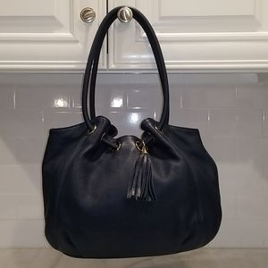 Michael Kors Large Ring Navy Blue Leather Tote